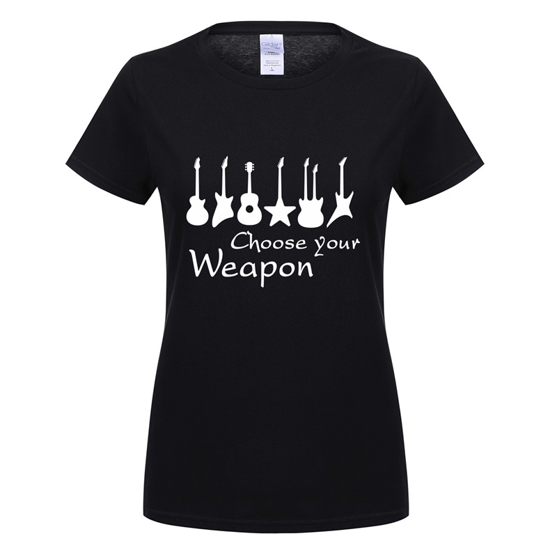 Omnitee New Fashion Choose Your Weapon Guitar T Shirt Women O-neck Cotton Short Sleeve Girls Tshirt Rock Roll T-shirt Tee OT-669