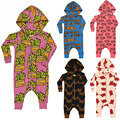 BBKhugolovesti Boys Girls Newborn Cotton Fries&mouth& pig&letter pattern BodySuit with Long Sleeve&Hat Kids Long Sleeve Jumpsuit