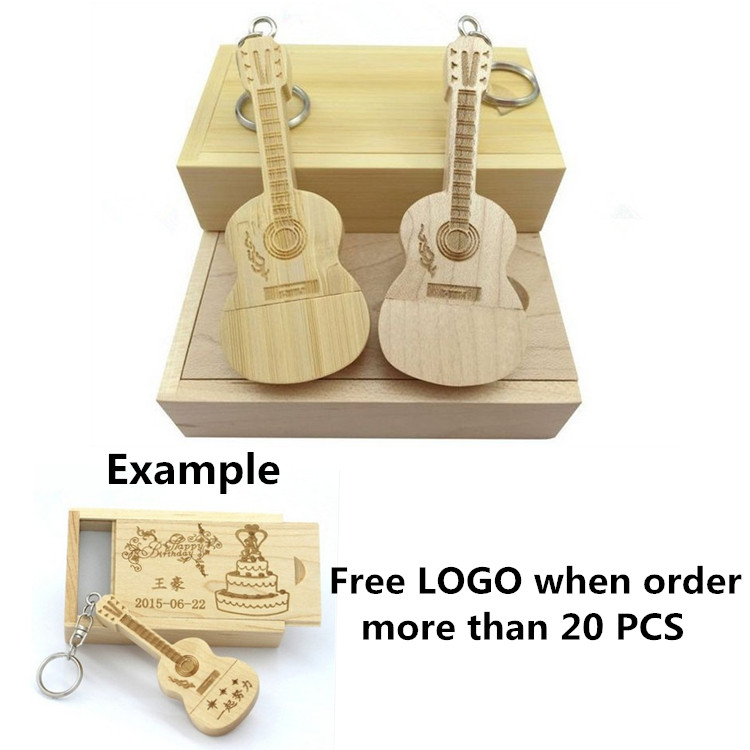 2017 New Customer LOGO wooden guitars model usb flash drive memory Stick pendrive 4GB 8G ...