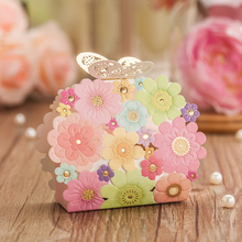 Wedding Favors And Gifts Box Flower Butterfly Favor Boxes Laser Cut Elegant Luxury Wedding Decoration Paper Candy Bag For Guests