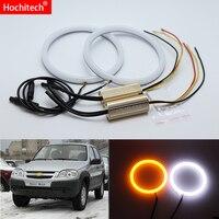 for Chevrolet Niva 2009 2010 2011 2012 2013 White & Amber Dual color Cotton LED Angel eyes kit halo ring DRL Turn signal light