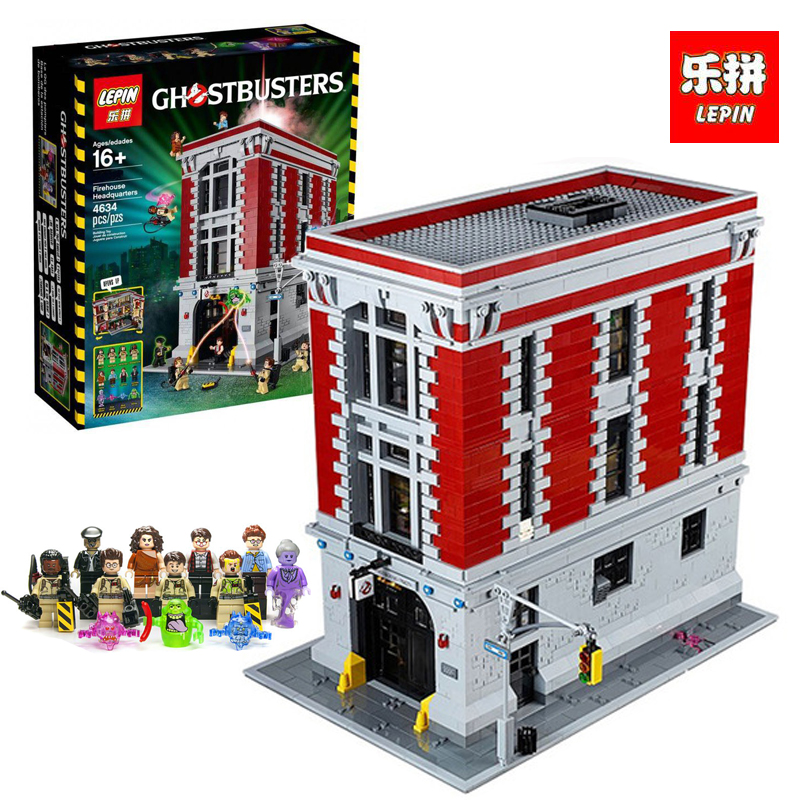 LEPIN 16001 4695Pcs Ghostbusters Firehouse Headquarters Model Building Kits Model set brin quedos 75827 for legoINGlys Gift lepin 16001 4705pcs city street series ghostbusters firehouse headquarters building block bricks kids toys for gift 75827