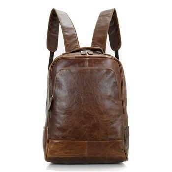 Nesitu Vintage Coffee / Brown Real Skin Genuine Leather Women / Men Backpacks #M7347