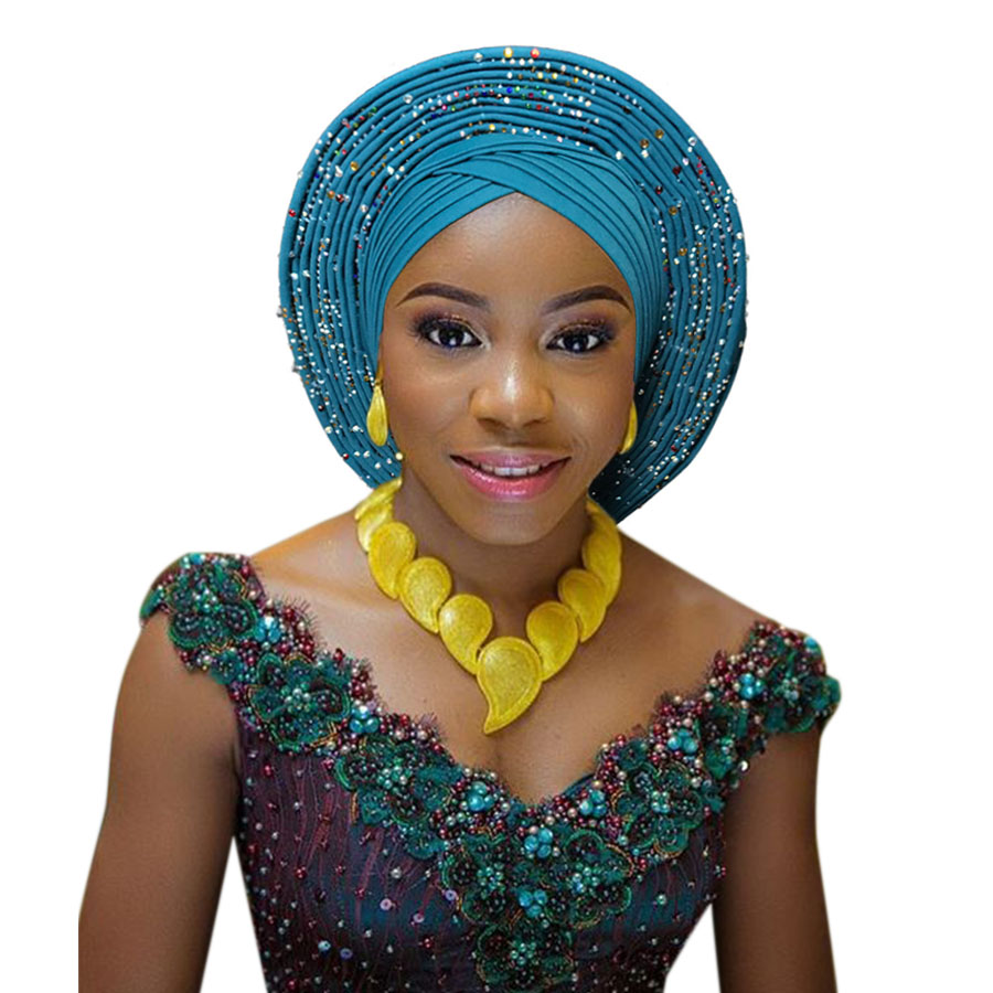 2018 New african aso oke cotton headtie nigerian gele headtie already made auto hele turban cap aso ebi big brim gele (10)