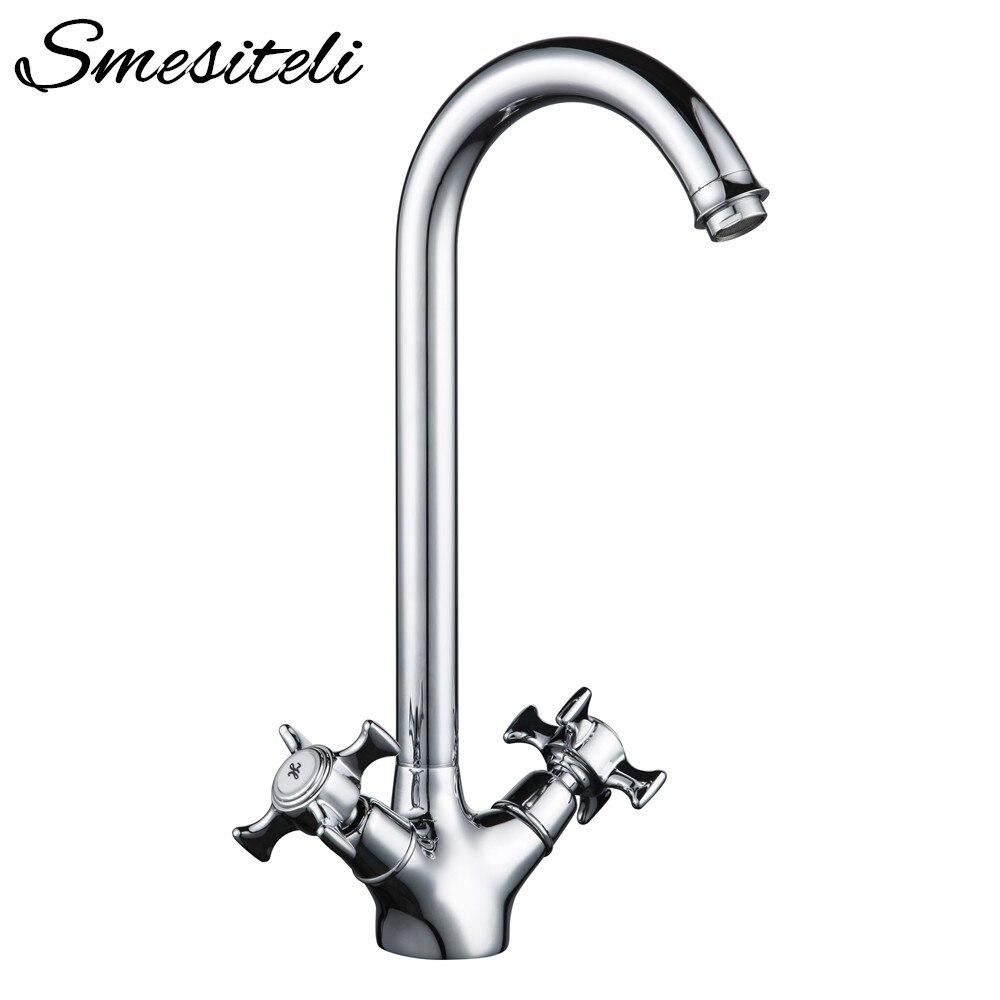 ⑦Kitchen Sink Faucet 360 Degree Swivel Mixer Tap Dual Cross Single ...