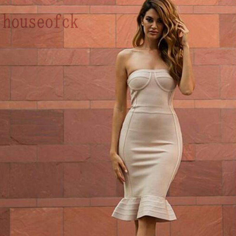Vendaje Bodycon Mujeres Beige Celebrity Hollow Strapless Sexy Vestidos Out Backless Vestido Fiesta De 2017 Babatique qCwSBw