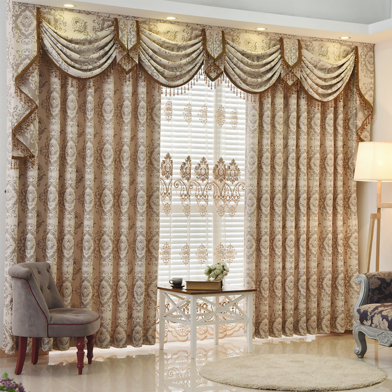 New Arrival European Luxury Curtain Bay Window Jacquard Beautiful Valance Curtains Cortina For