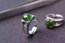 Natural green jasper stone Ring Natural gemstone Ring S925 sterling silver trendy luxurious big round women men gift Jewelry