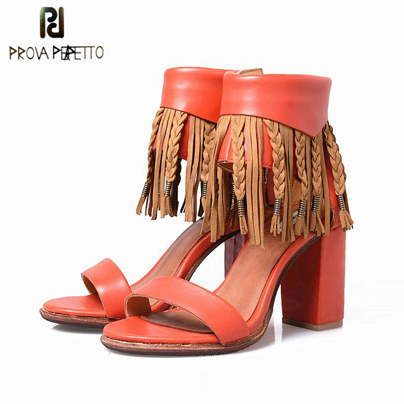 Prova Perfetto 2018 New Style Lady Summer Sandal Shoes High Quality Leather Ankle Fringe Tassel Open Toe Sandal Shoe Chunky Heel сон разума