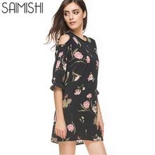 Saimishi Size S 2XL Women Dress Summer Floral Print Open Shoulder Dress Flare Sleeve Mini Dress