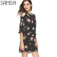 Saimishi Size S-2XL Women Dress  Summer Floral Print Open Shoulder Dress Flare Sleeve Mini Dress O-Neck Chiffon Dress