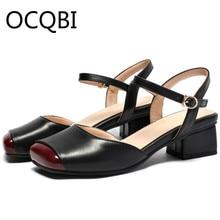 Womens Block Square Heel Closed Square Toe Sandal Shoes Summer Comfort Sandals Street Shoes Women Shoes Size 33 - 39 недорого