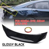 ABS Glossy Black Highkick Duckbill Trunk Spoiler Wing Tail Trunk Trim Strip R Style For Honda For Civic Sedan 10th V3 2016 2019