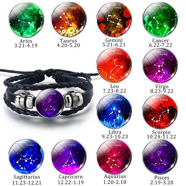 12 Zodiac Constellations Sign Leo Pisces Libra Leather Bracelets Men Women  Glass Dome Black Fashion Braided Charm Couple Jewelry