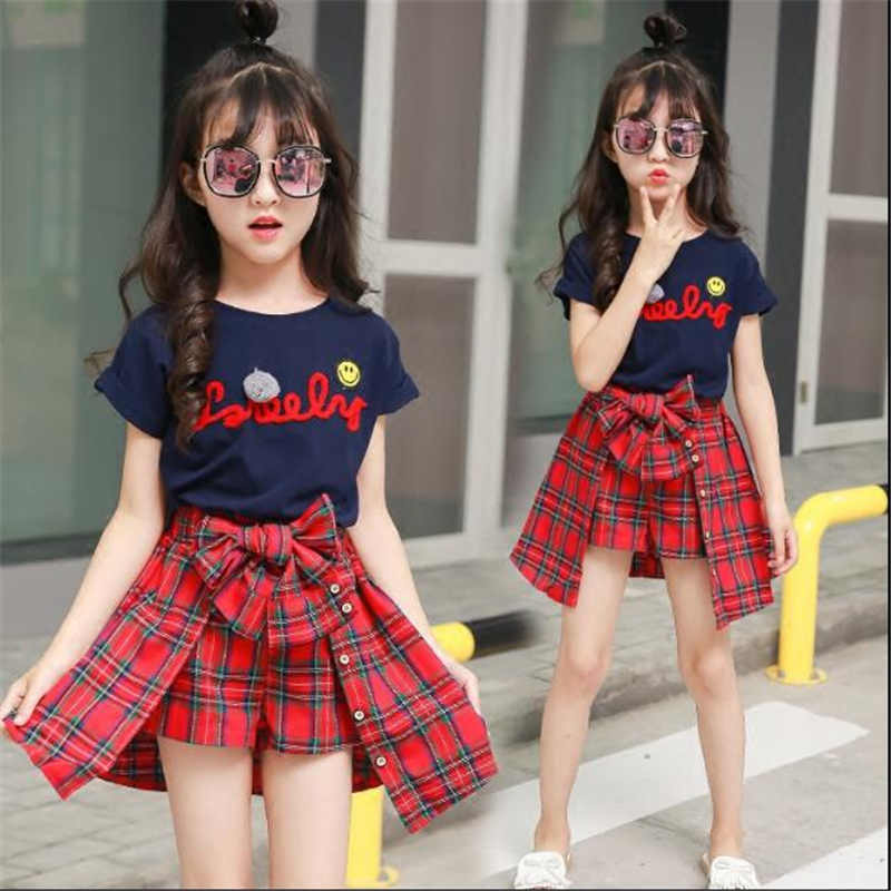 girls summer sets 2018 new children clothing top short sleeve letter printed tshirt+red plaid skirt pants 2 pcs girls tracksuits