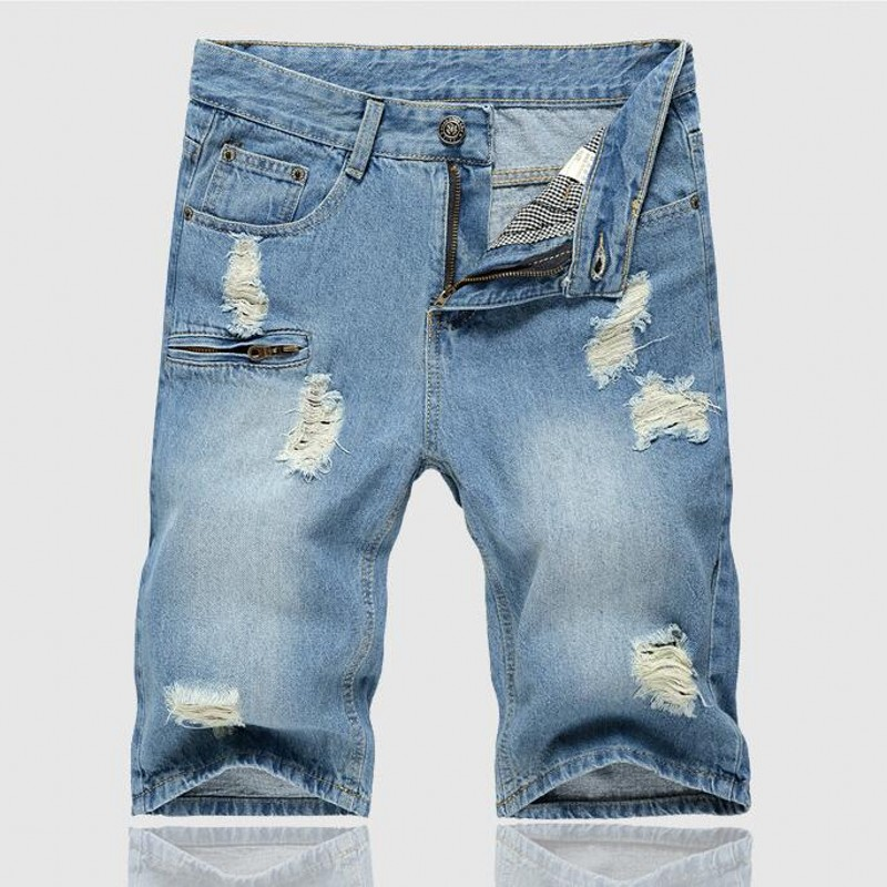 2016 New High Quality Cotton Fashion Casual Slim Straight Hole Ripped Short Jeans For Men Denim