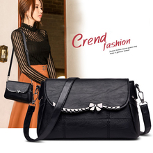 Fashion Lady Bow Decorative Shoulder Bag Plaid Ladies Light Imitation Leather Crossbody bag Personality Rivet Waterproof