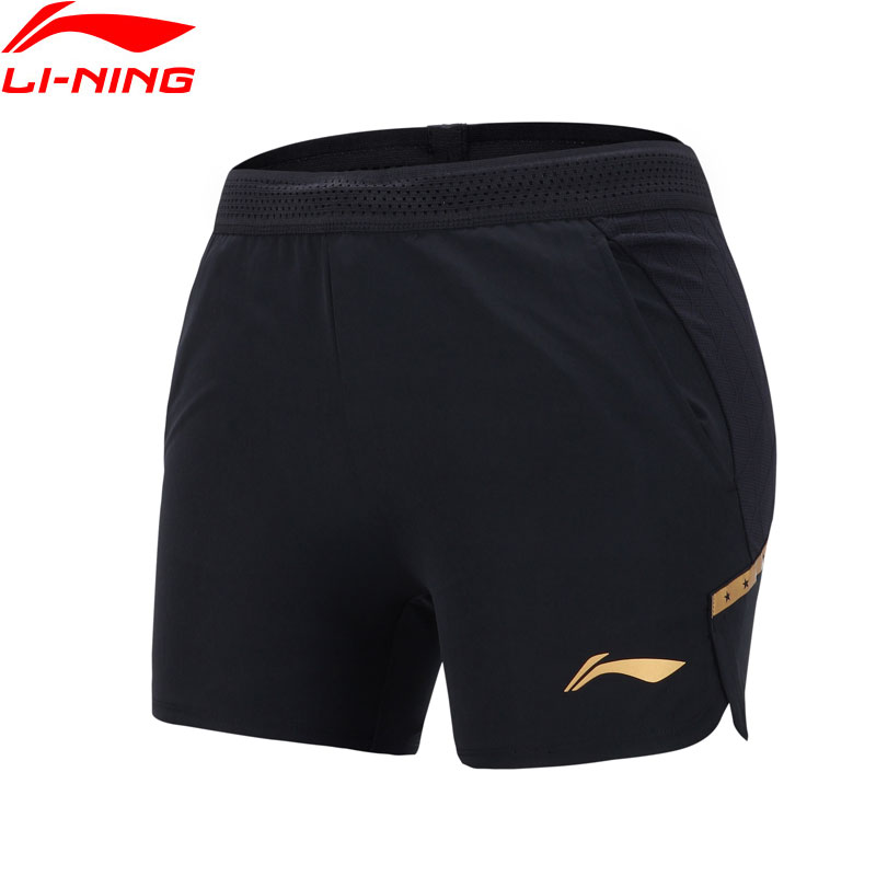 (Clearance)Li-Ning Women Table Tennis Shorts 92%Polyester 8%Spandex LiNing Breathable Sports Shorts AAPN054 WKD603(China)
