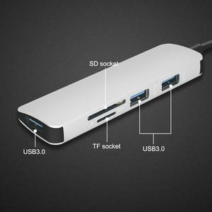 Image 4 - 5 في 1 USB C Hub إلى USB 3.0 /TF /SD محول شحن ميناء نوع C Hub ل ماك بوك برو سامسونج غالاكسي S8 S9 LG USB C HUB