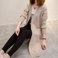 Six senses 2017 Women Long Cardigans Autumn Winter Open Stitch Knitting Sweater Cardigans warm Jacket Coat LX3799