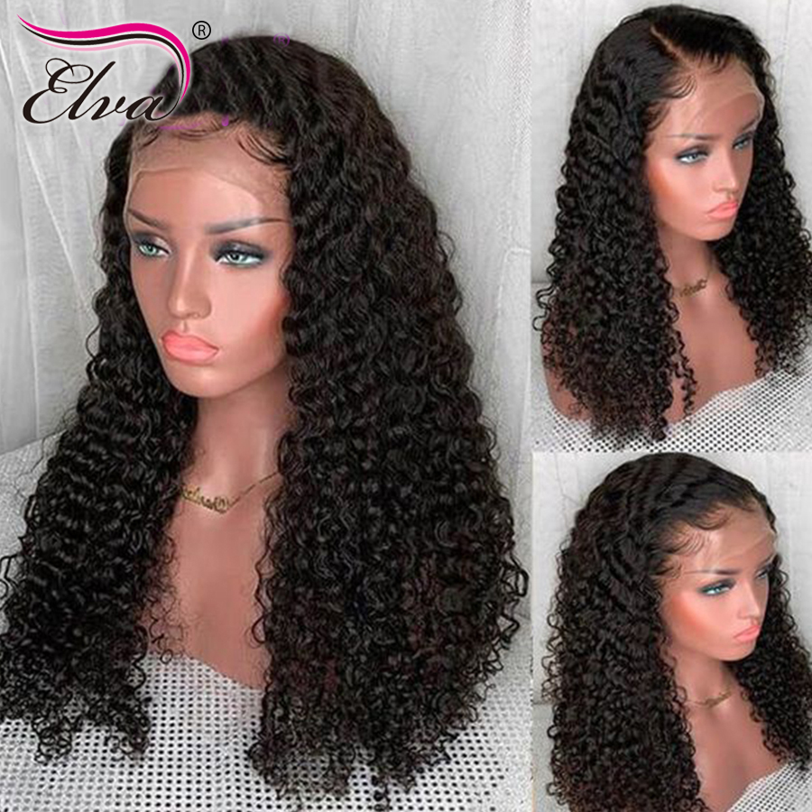 13x6 370 Lace Frontal Wigs For Black Women Elva Hair Pre Plucked With Baby Hair Remy Hair Curly Human Hair Full Lace Front Wigs