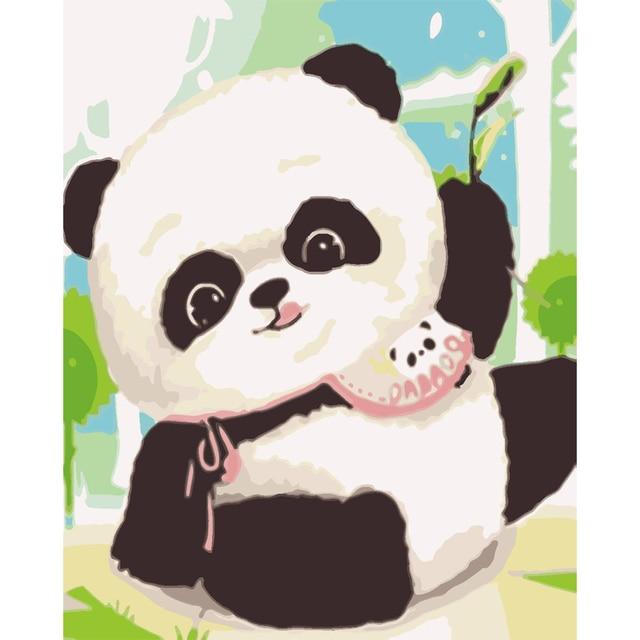 Die panda Bild Diy digitales ölgemälde durch anzahl farbe zeichnung ...