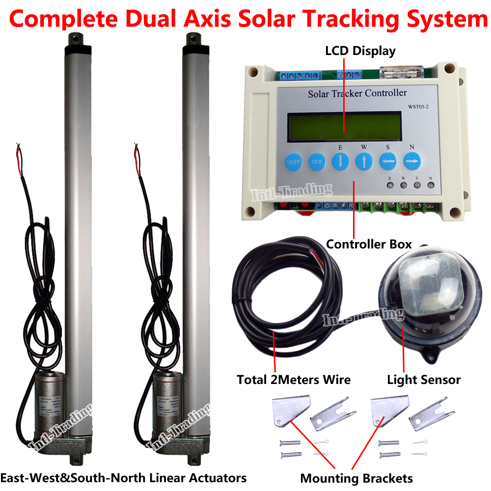 US $294 43 |Complete Dual Axis Solar Tracking Kit &Electronic Controller &16