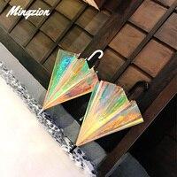 Mingzion Laser Umbrella Unicorn Kids Umbrellas Rainbow Film Colour Changing Umbrella Children Transparent Umbrellas Dropshipping