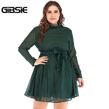 GIBSIE 5XL 4XL Plus Size Women Elegant Office Lady Spring Dress 2019 Solid Stand Collar Long Sleeve Chiffon Pleated Mini Dress