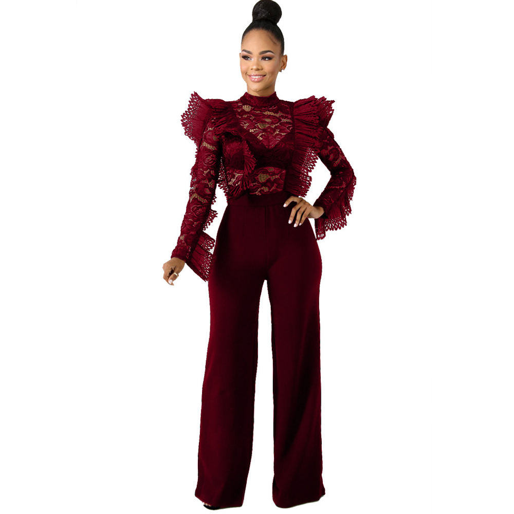 new hot women 39 s jumpsuit lace ruffled long sleeve wide leg stitching jumpsuit sexy perspective jumpsuit in Jumpsuits from Women 39 s Clothing