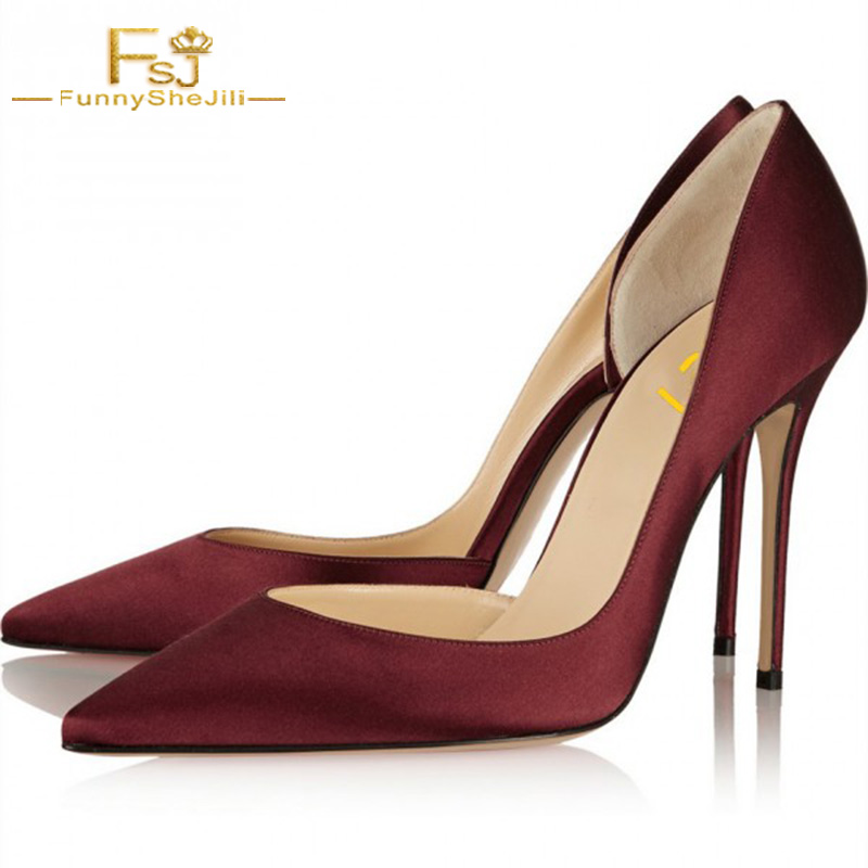Burgundy Heels Pointy Toe Stiletto Heel Satin D'orsay Pumps Thin High Heels Shoes Woman Red Pointed Toe Wedding Dress Size13 FSJ pointed toe high heels for wedding party rhinestone covered bridal dress shoes stiletto heel banquet pumps white pink red color