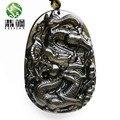 Transporte da gota Preto Obsidian Esculpido Dragão Amuleto Pingente Livre Homens Colar de Pedra de Sorte Chinês Bênção Moda Jóias de Jade