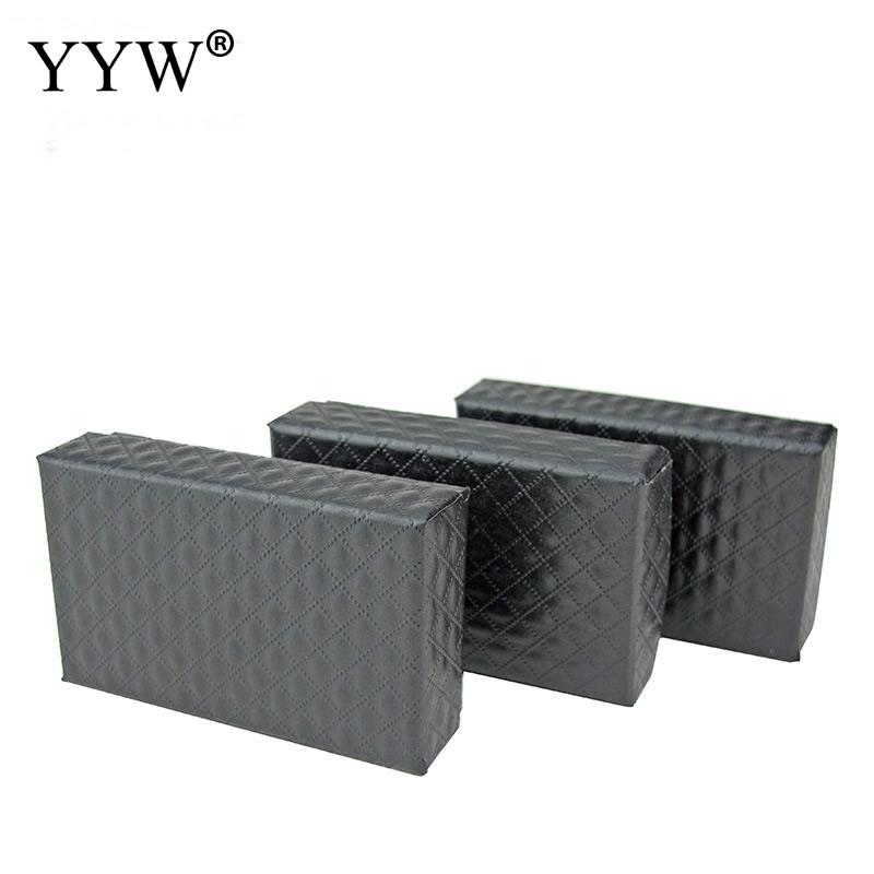 100 Pcs/Lot Elegant Jewelry Box 50x83x25mm Black Necklace Pendant Box For Paper Gift Boxes Jewelry Packaging Display With Sponge