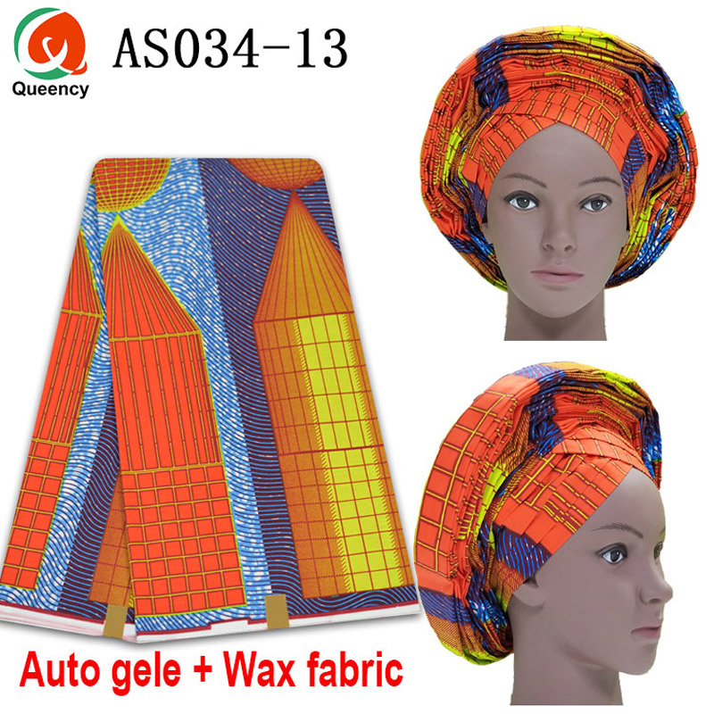 AS034 Ankara Auto Gele match Ankara Fabric 6yards / Woven Auto Gele Pre-Tied Ankara Gele / Ready To Wear Auto Freeze