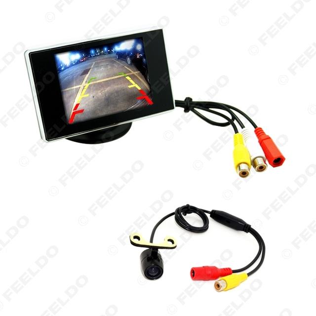 "Digital 3.5 ""TFT LCD Monitor de Reverso CCD Mini Câmara de marcha Do Carro Reave Vista Sistema Seguro # FD-3438"