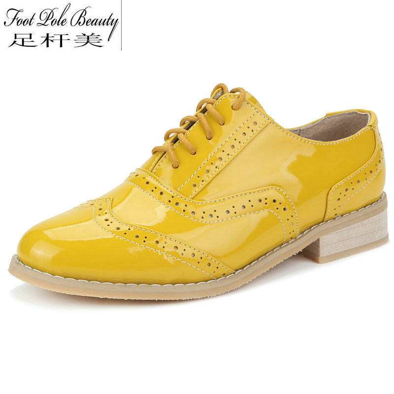 Brand handmade shoes female yellow Patent Leather flat shoes Plus Size Woman oxford shoes for women