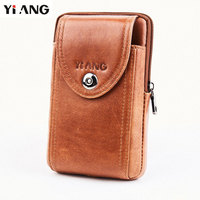 YIANG Men's Fashion Travel Genuine Leather Cigarette Waist Belt Bag Fanny Pack Molle Mini Money Purse Mobile/Cell Phone Bags