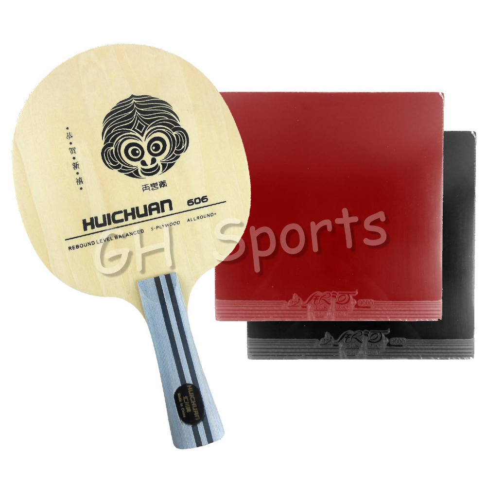 Pro Table Tennis PingPong Combo Racket Galaxy YINHE HUICHUAN 606 Blade with 2x 9000 A Pair Rubbers Long Shakehand FL pro table tennis pingpong combo racket galaxy yinhe t7s blade with 2x sanwei t88 iii rubbers shakehand long handle fl