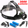 LED CREE XM-L T6 Headlight 3000Lumens Headlamp Rechargeable Head Light Lamp +2x18650 Battery + Charger