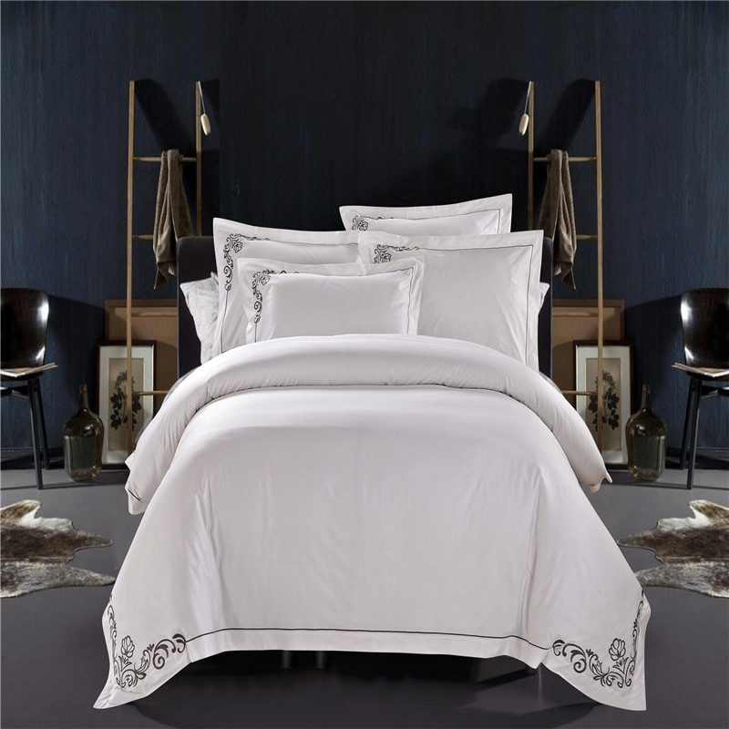 100% Cotton White Embroidered Hotel Bedding Set 4/6Pcs King Queen Size Luxury Hotel Duvet Cover Set Bedding Sheets Set32