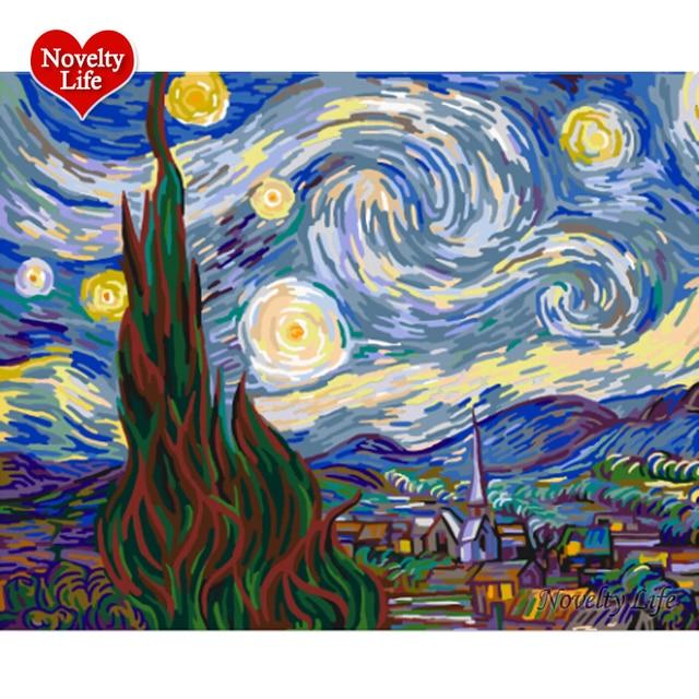Van Gogh Bilderrahmen Ölgemälde Durch Zahlen Sternenhimmel Abstrakte ...
