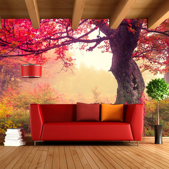 cozy cafe living bedroom idyllic stereoscopic mural forest decoration landscape