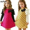 O Vestido da menina Do Bebê Roupa Dos Miúdos 2017 Nova Moda de Algodão de Alta Qualidade Primavera Outono Bow da Longo-luva Vestido de Princesa Das Meninas 3-7A