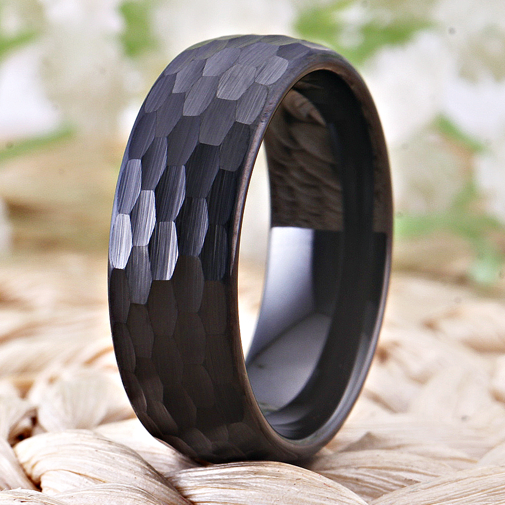 Image 3 - Hammer 8mm Black Domed Tungsten Ring Women Classic Hammered Comfort Fit Faceted Comfort Fit for Men Wedding Band Engagement RingWedding Bands   -