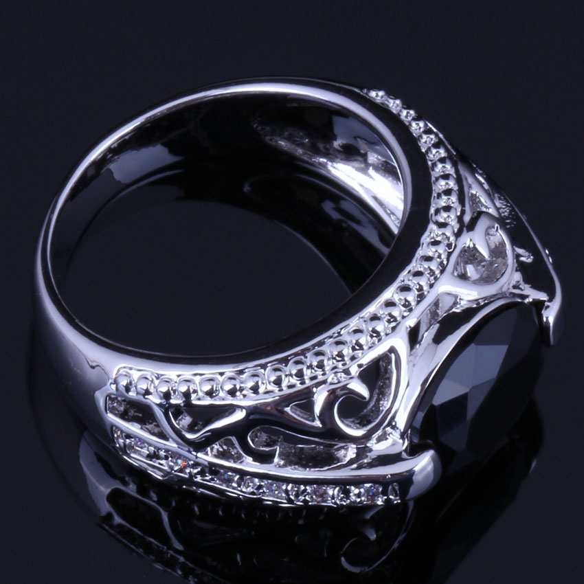 Trendy Oval Black Cubic Zirconia White CZ 925 Sterling Silver Ring For Women V0647 in Rings from Jewelry Accessories