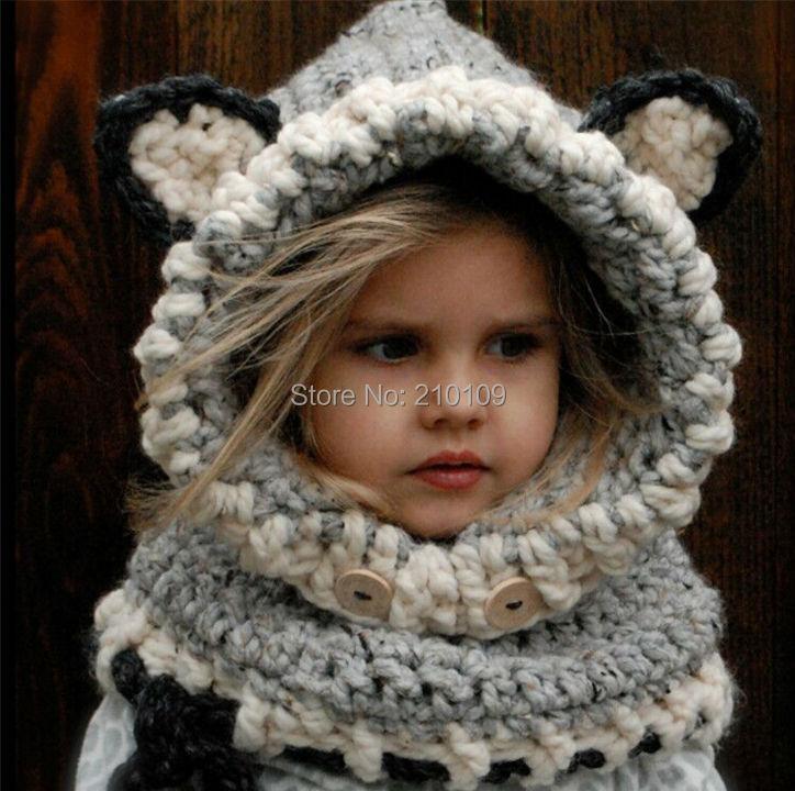 2016 New Novelty Winter Warm Neck Wrap Fox Scarf Caps Cute Children Handmade Crochet Hats Baby Kids Boy Girl Cowl Beanies Gorros