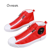 цена на OVXUAN Mens Luxury Brand British Trend Designer Canvas shoes Pure Red Rubber Sneakers Male 2020 Men Fashion Casual Ankle Boots