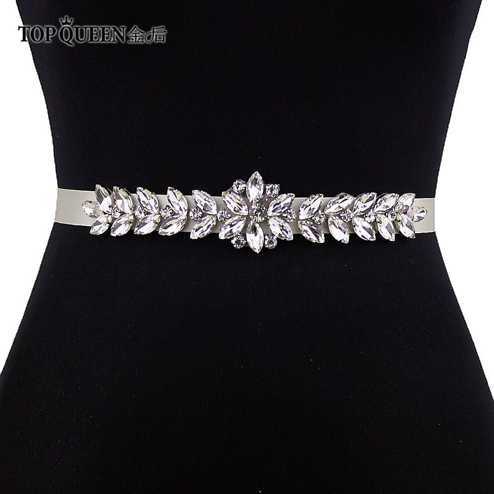 TOPQUEEN S69 Wedding Bridal Wedding Belt Wedding Dress Accessories Rhinestone Sash Silver Diamond Beads Bridesmaid Belt