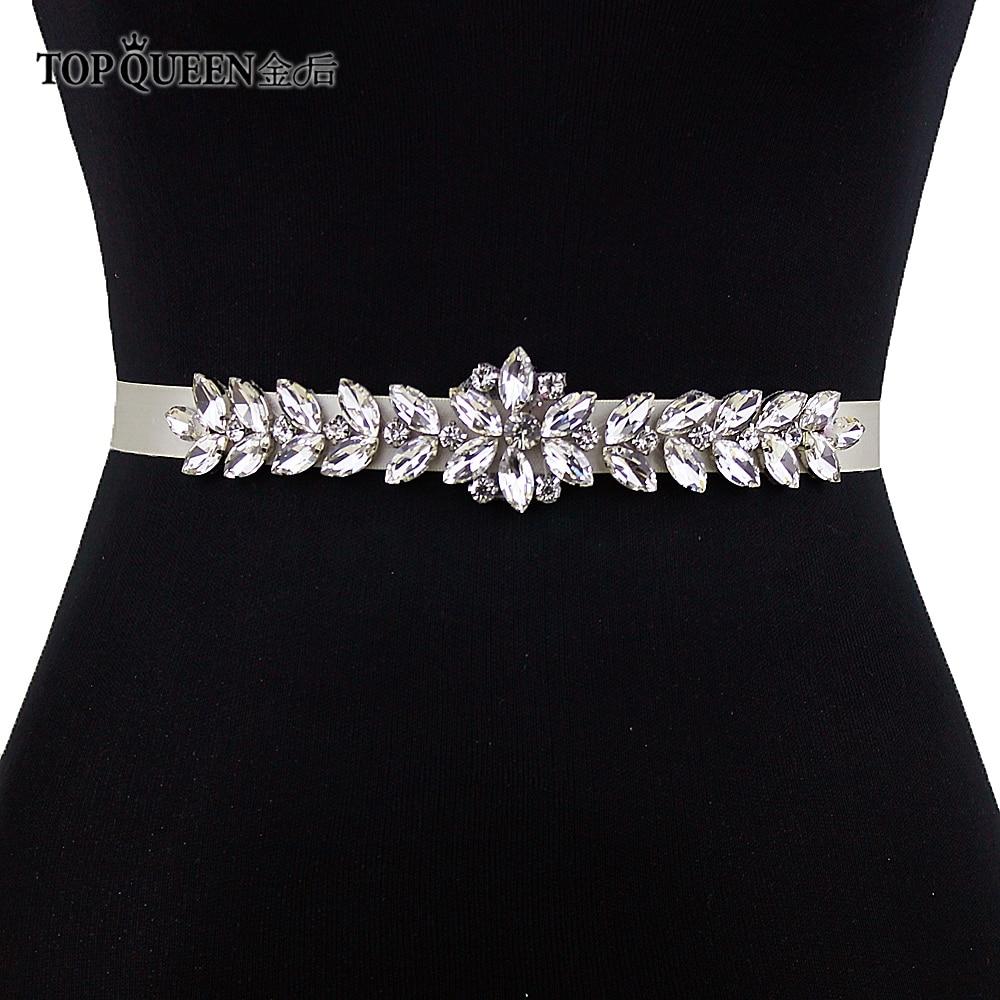 TOPQUEEN S69 Wedding Bridal Wedding Belt Wedding Dress Accessories Rhinestone Sash Silver Diamond Beads Bridesmaid Belt
