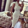 Custom Size One shoulder sheath White Plus size evening dress Sexy Saudi Arabia robe de soiree Evening gown 2016 Fast Shipping